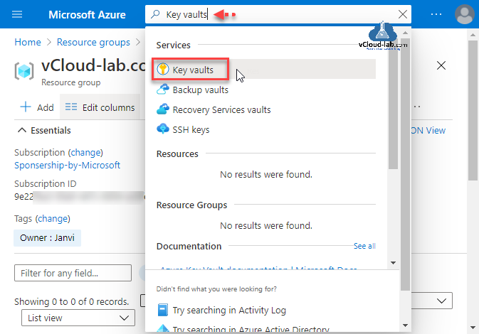 Microsoft Azure Key Vaults backup vaults recovery services vaults ssh keys subscription ID Subscription sponsership by microsoft azure account portal microsoft azure secrets and keys.png