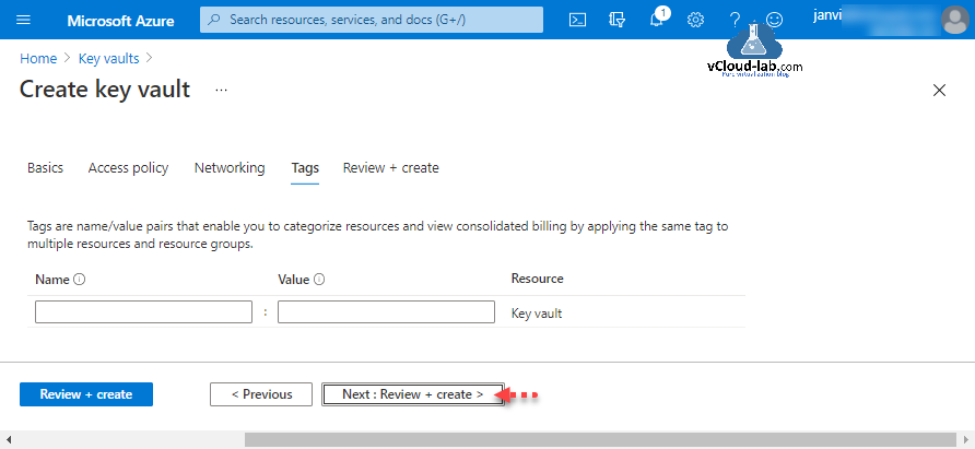 Microsoft Azure create key vault access policy networking tags review secret certificate key name value pairs resource groups portal web password.png