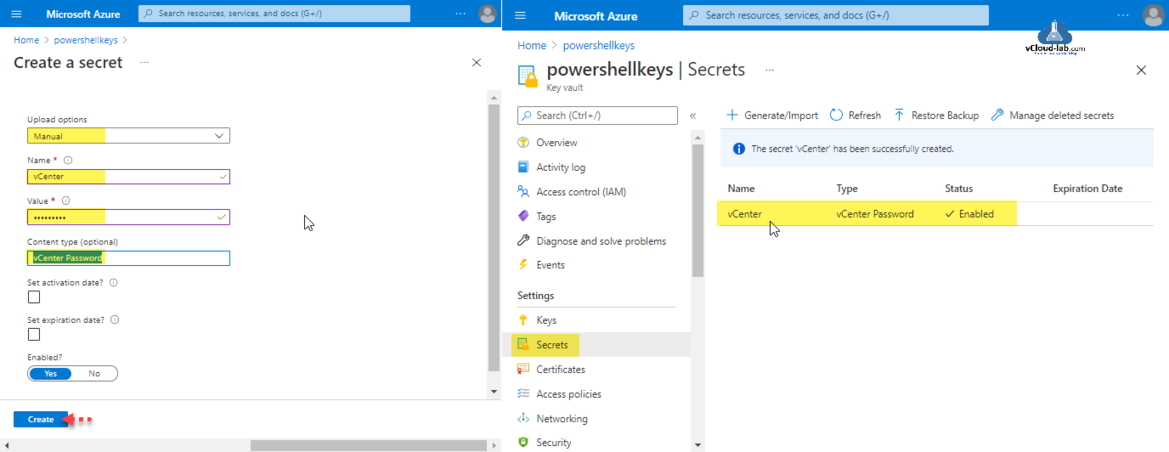 Microsoft Azure Create a secret key vault generate import restore backup managed deleted secrets keys certificates access policies networking security azure portal key vault management.png