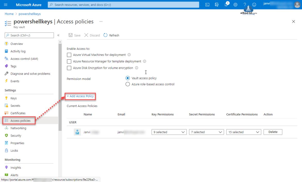 Microsoft Azure portal add access policy azure virtual machines for deployment azure resource manager for template deployment auzre disk encryption for vaolume encryption get read key secrets.png