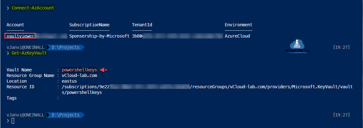 Microsoft Azure Powershell az module connect-azaccount key vault azurecloud environment get-azkeyvault resourcegroup keyvault secrets azurecli.png