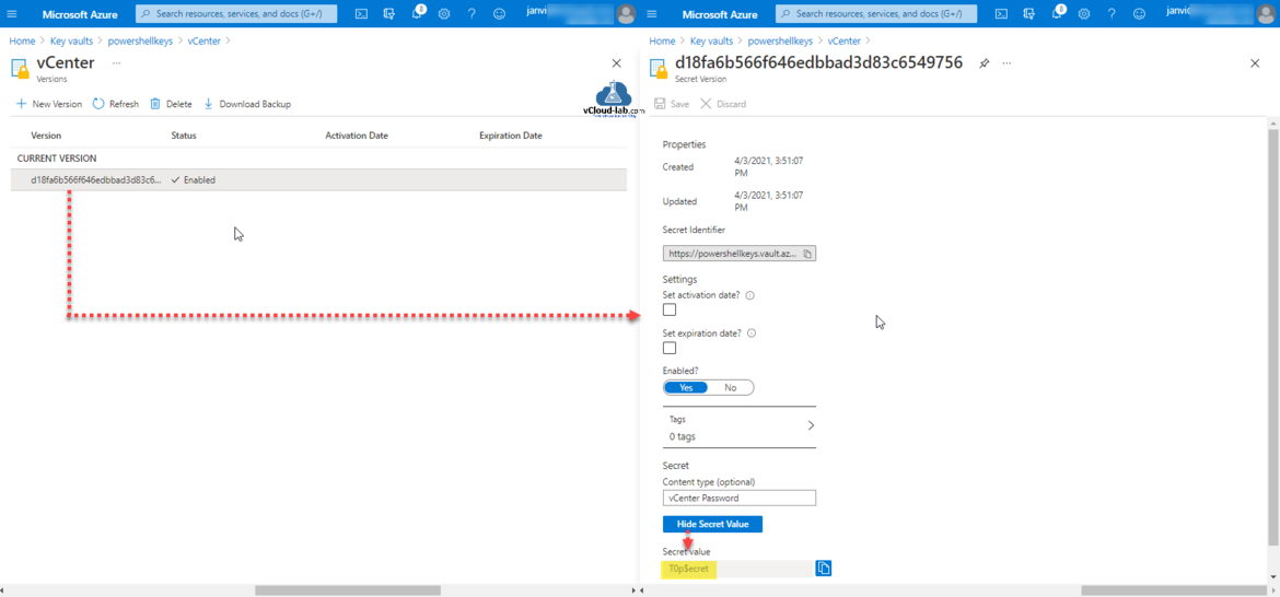 microsoft azure key vaults current version secrets identifier set activation date set expiration date secret value powershell key vault secret certificate.png