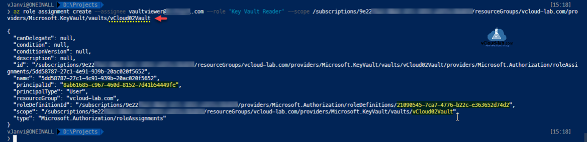 Microsoft Azure Powershell Azurecli az role assignment create --assignee key vault azure ad active directory --role reader subscriptions resourcegroup provider certificate.png