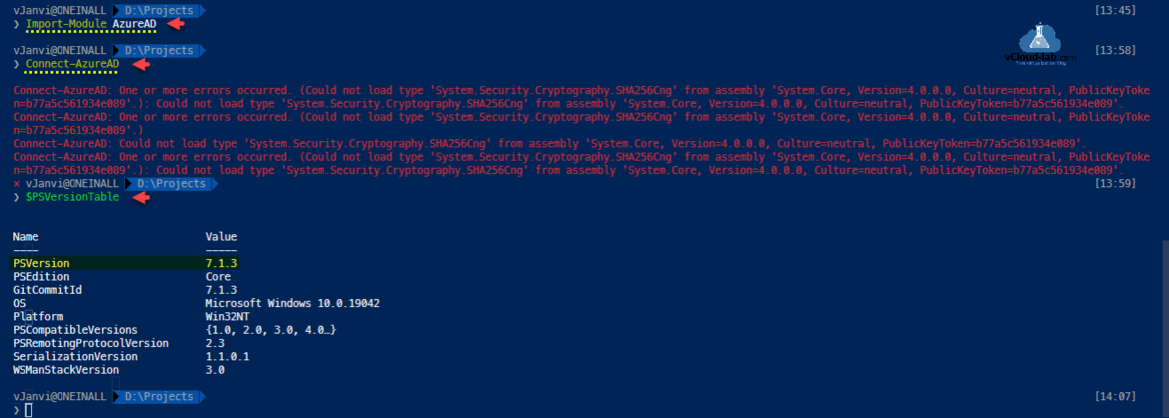 Microsoft azuread import-module system.security.cryptography.sha256Cng connect-Azuread $psversiontable psversion assembly system.core publickeytoken error occurred .png